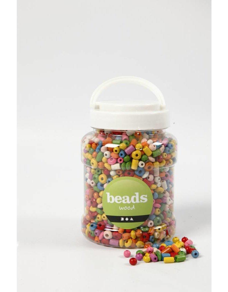 Houten kralen, d: 5-8 mm, gatgrootte 1,5 mm, 400 ml, kleuren assorti, china berry