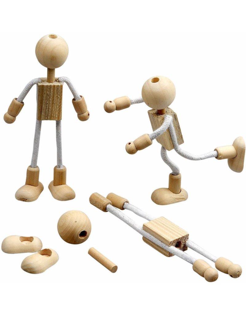 Flexi figuur, h: 12 cm, 4 sets, gemengd hout