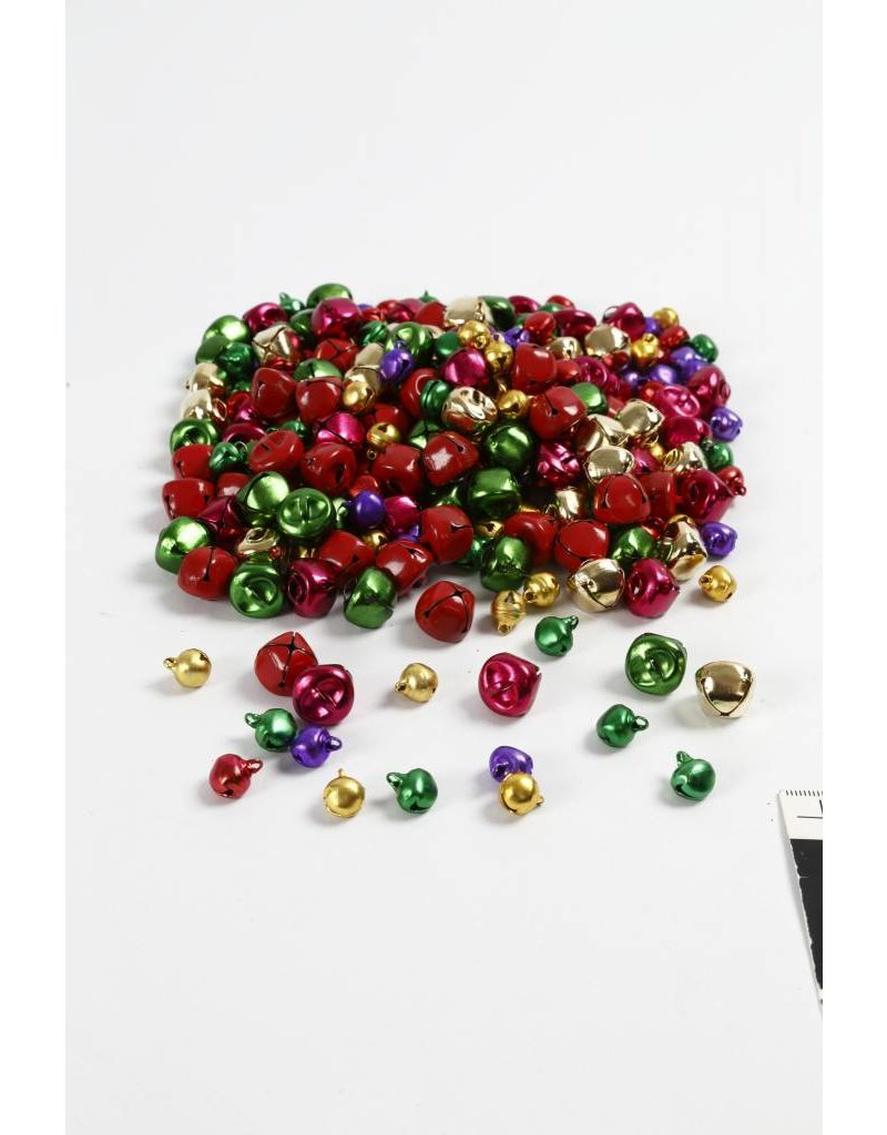 Bellen, d: 10+14 mm, 320 div, metallic kleuren
