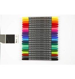 Textielstiften, lijndikte: 2,3+3,6 mm, 20 stuks, kleuren assorti