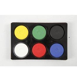 Waterverf in palet, d: 44 mm, h: 16 mm, 6 stuks, primaire kleuren