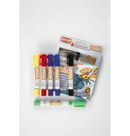 Playcolor textielverf, l: 14 cm, d: 15 mm, 6 stuks, kleuren assorti