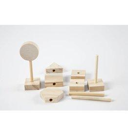 Verkeersborden, h: 7,5 cm, b: 3,2 cm, 24 stuks, grenen