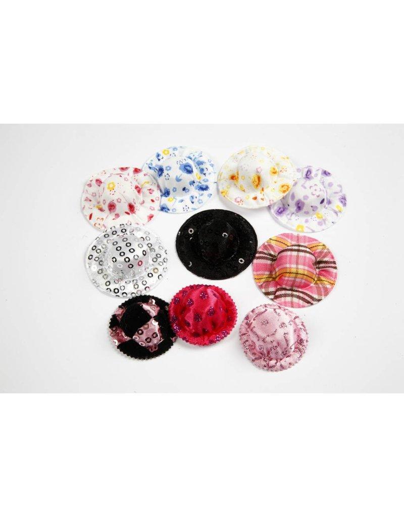 Mini hoeden, d: 4 cm, per stuk