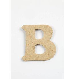Letter - B, h: 4 cm, dikte 2,5 mm, MDF, per stuk