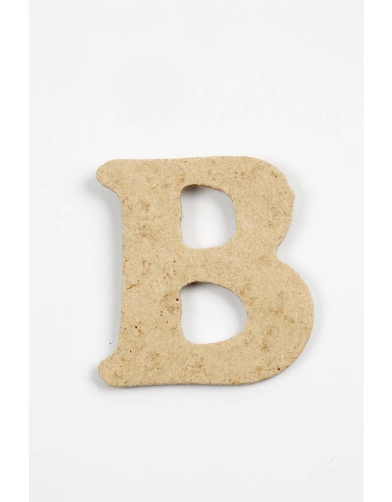 Letter B, h: 4 cm, dikte 2,5 mm, MDF, per stuk