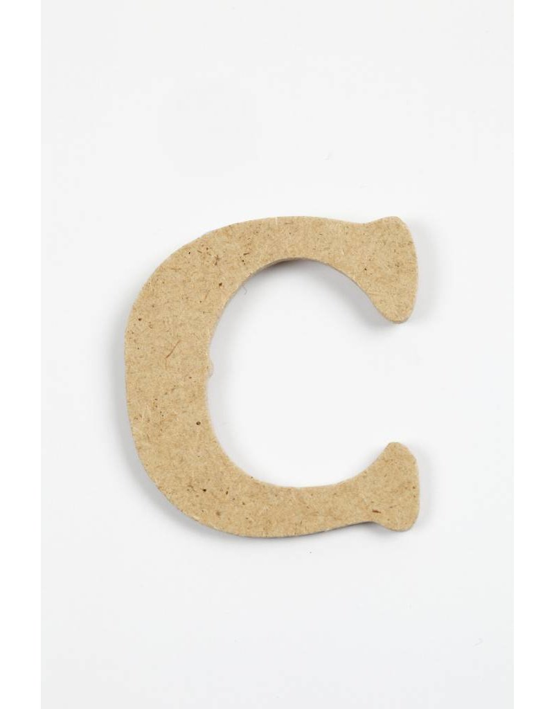 letter- C, h: 4 cm, dikte 2,5 mm, MDF, per stuk