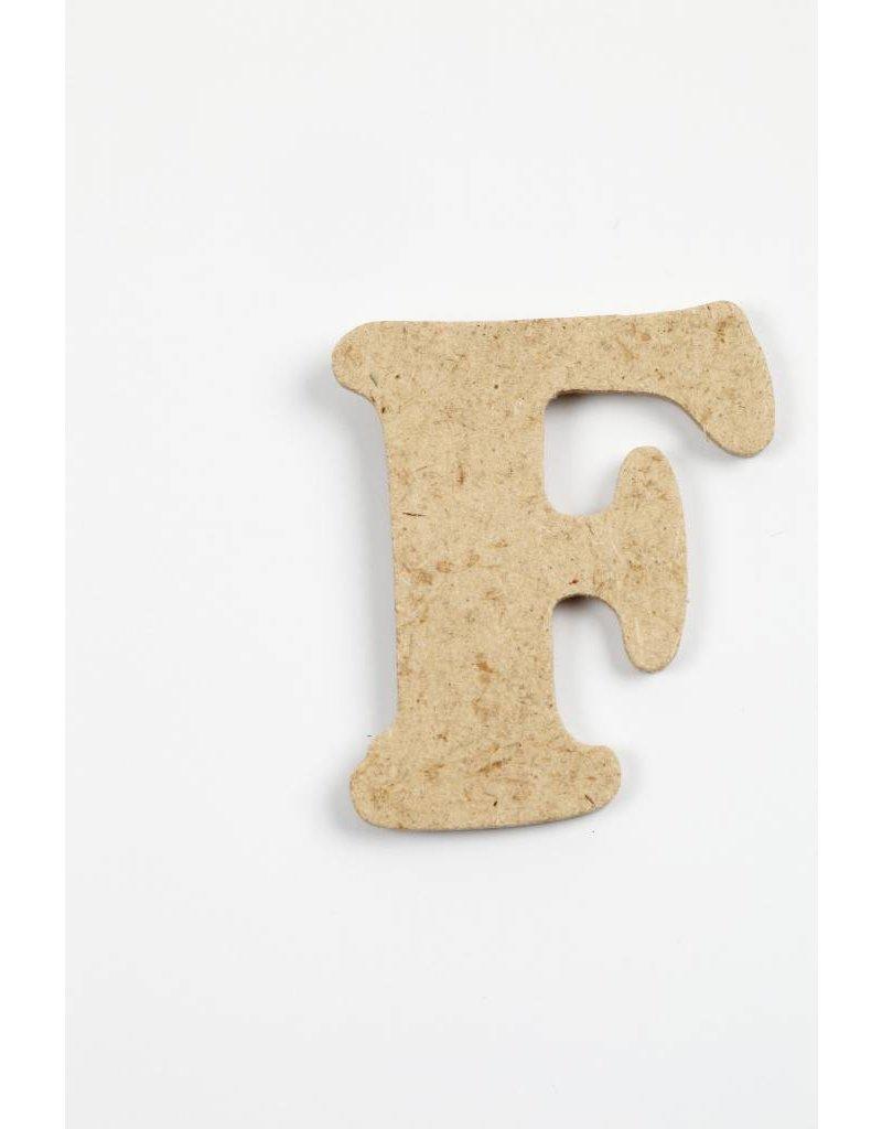 Letter F, h: 4 cm, dikte 2,5 mm, MDF, per stuk