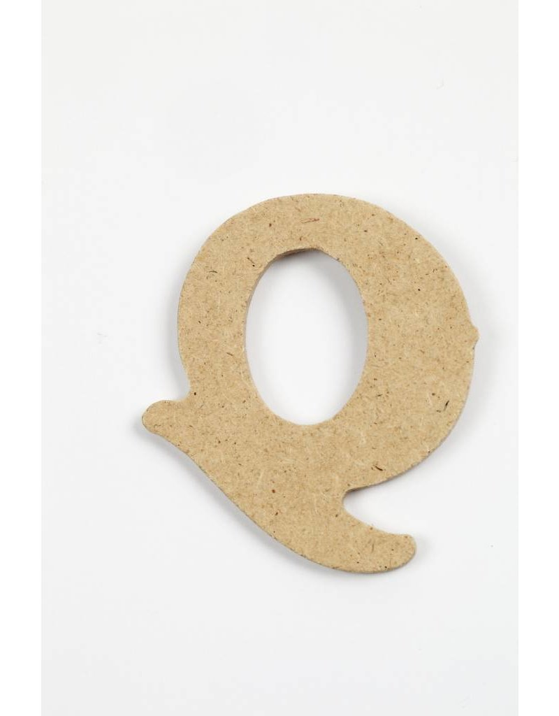 Letter Q, h: 4 cm, dikte 2,5 mm, MDF, per stuk
