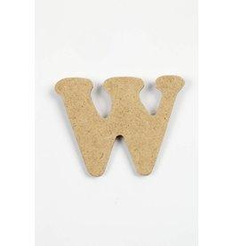 Letter - W, h: 4 cm, dikte 2,5 mm, MDF, per stuk