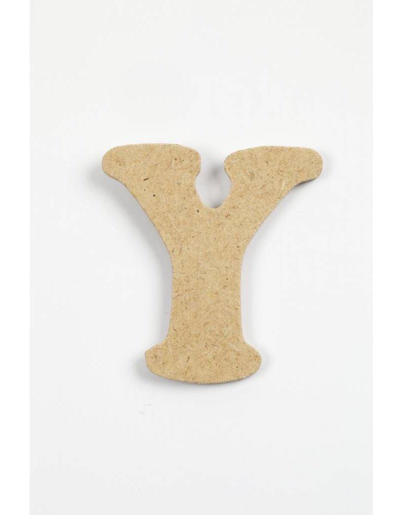 letter- Y, h: 4 cm, dikte 2,5 mm, MDF, per stuk