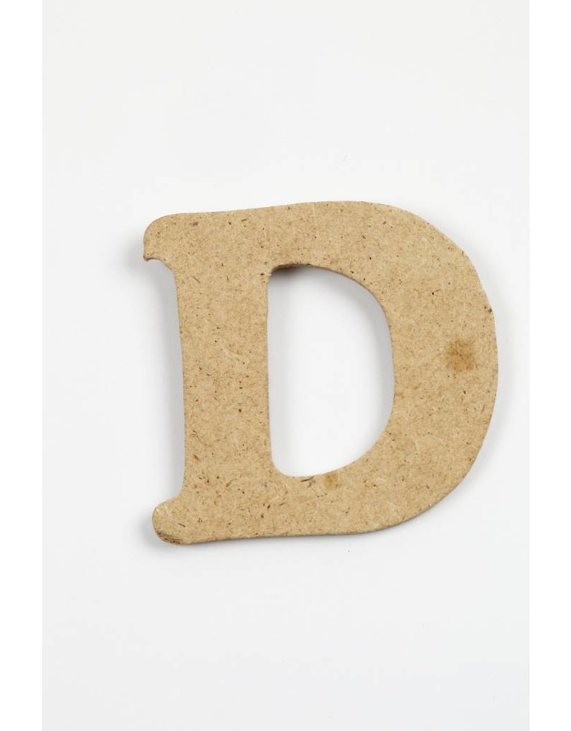 letter- D, h: 4 cm, dikte 2,5 mm, MDF, per stuk