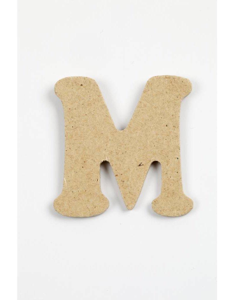 letter- M, h: 4 cm, dikte 2,5 mm, MDF, per stuk