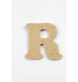 Letter R, h: 4 cm, dikte 2,5 mm, MDF, per stuk