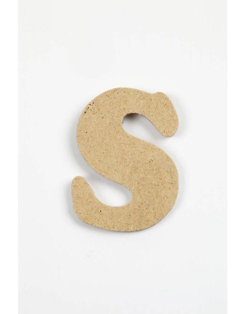 Letter S, h: 4 cm, dikte 2,5 mm, MDF, per stuk