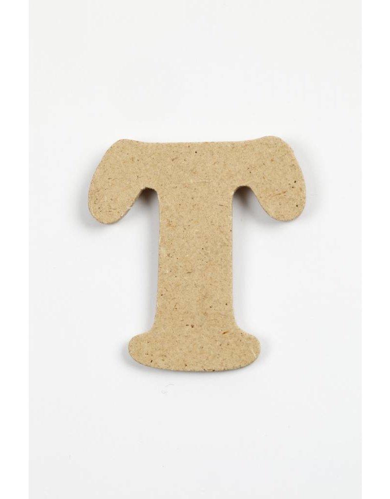 Letter T, h: 4 cm, dikte 2,5 mm, MDF, per stuk