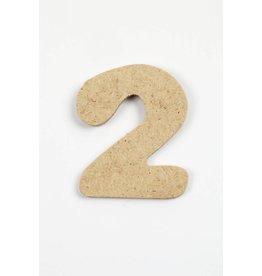 Cijfer 2, h: 4 cm, dikte 2,5 mm, MDF, per stuk