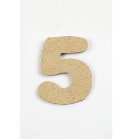 Cijfer 5, h: 4 cm, dikte 2,5 mm, MDF, per stuk