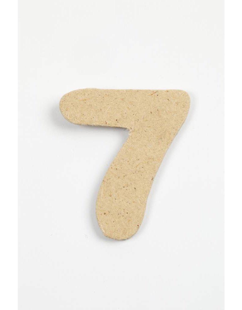 Cijfer 7, h: 4 cm, dikte 2,5 mm, MDF, per stuk