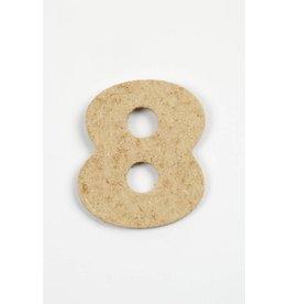 Cijfer 8, h: 4 cm, dikte 2,5 mm, MDF, per stuk