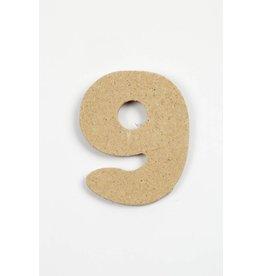 Cijfer 9, h: 4 cm, dikte 2,5 mm, MDF, per stuk