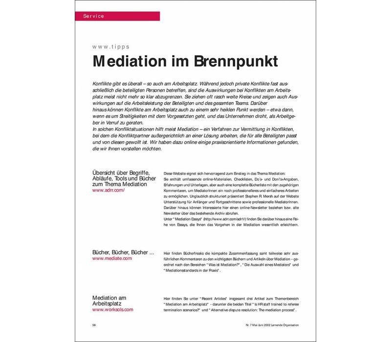 Mediation im Brennpunkt