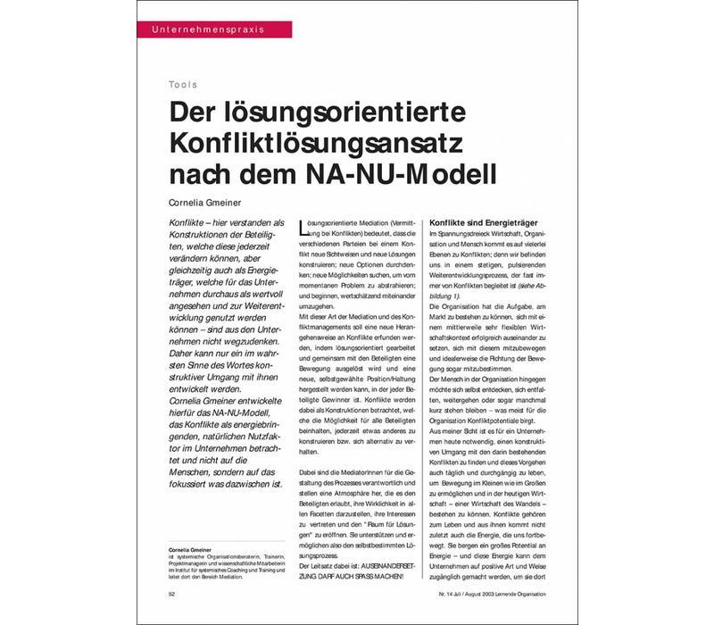 Der lösungsorientierte Konfliktlösungsansatz nach dem NA-NU-Modell