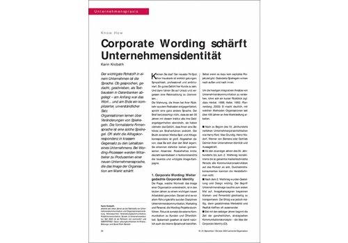 Corporate Wording schärft Unternehmensidentität