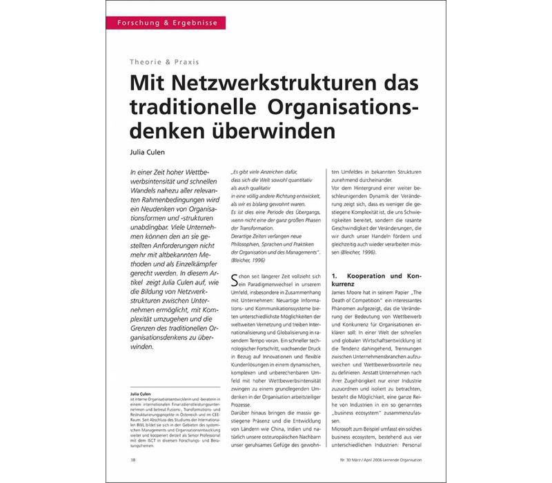 Mit Netzwerkstrukturen das traditionelle Organisationsdenken überwinden