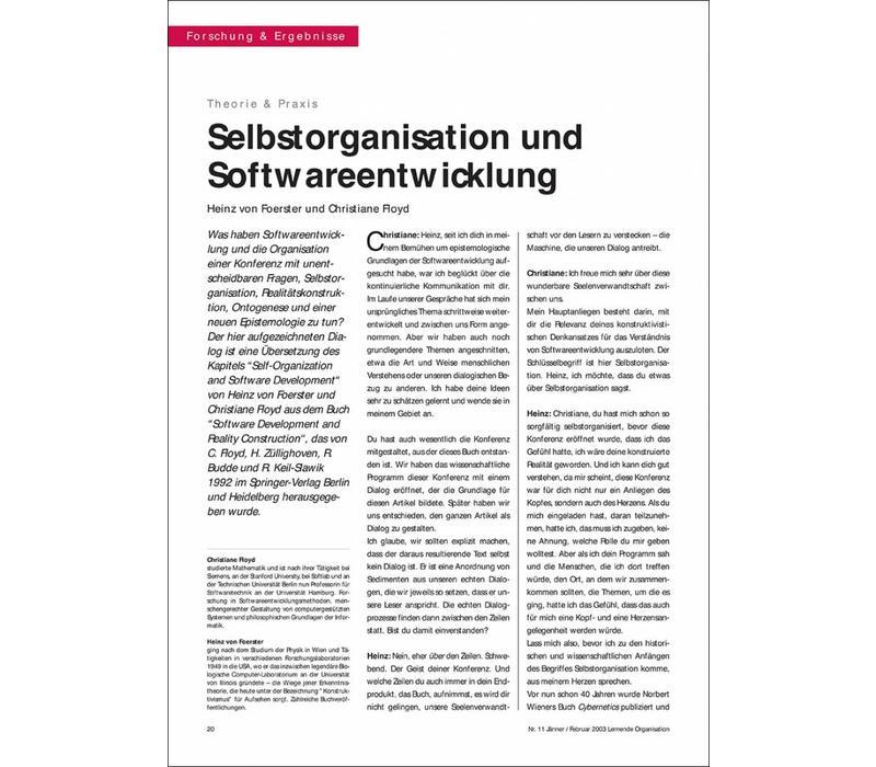 Selbstorganisation und Softwareentwicklung