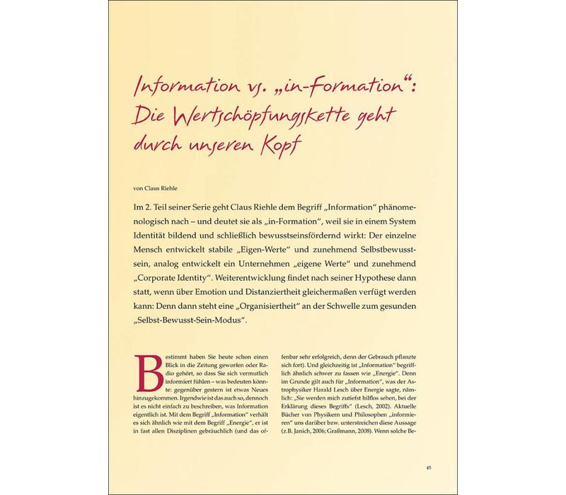 """Information vs. """"in-Formation"""": Die Wertschöpfungskette geht durch unseren Kopf"""