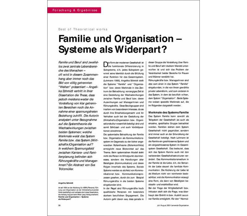 Familie und Organisation - Systeme als Widerpart
