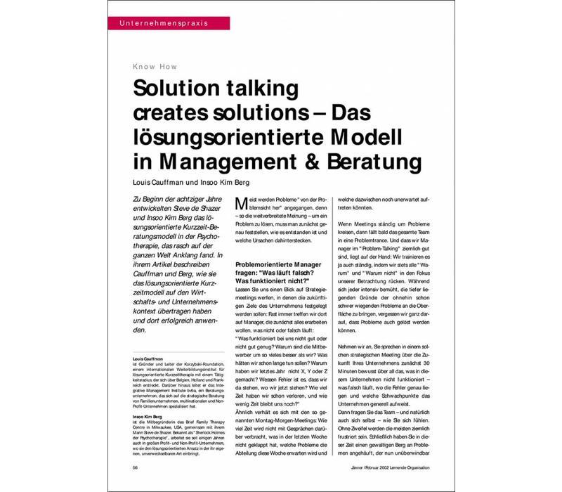 Solution talking creates solutions – Das lösungsorientierte Modell in Management & Beratung