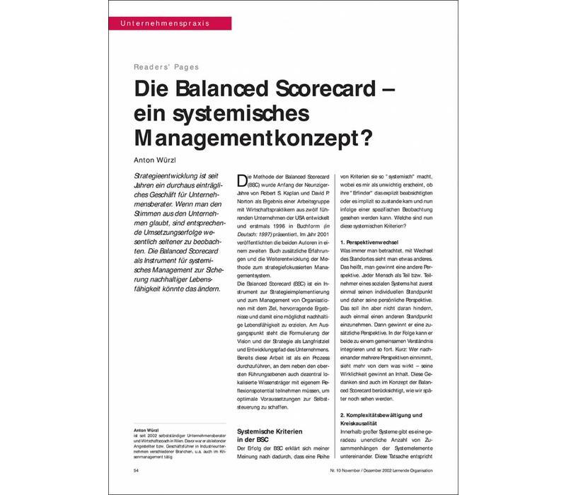 Die Balanced Scorecard – ein systemisches Managementkonzept?