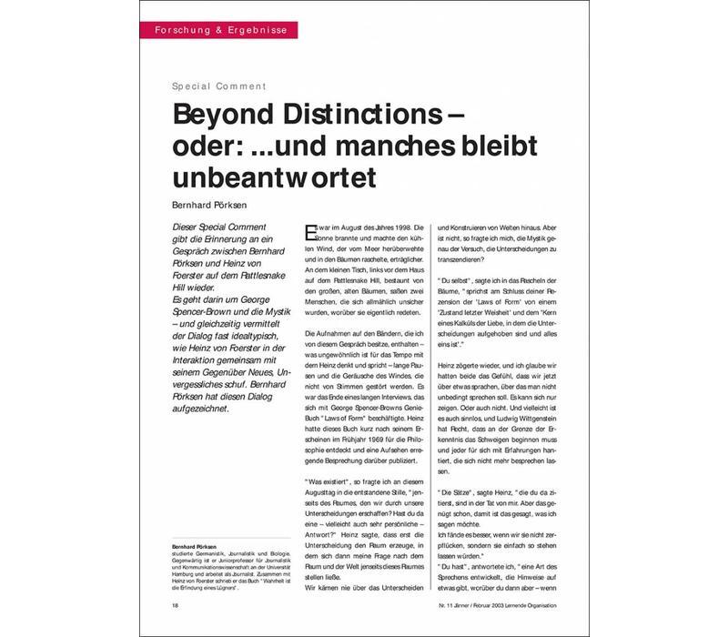 Beyond Distinctions – oder: ...und manches bleibt unbeantwortet
