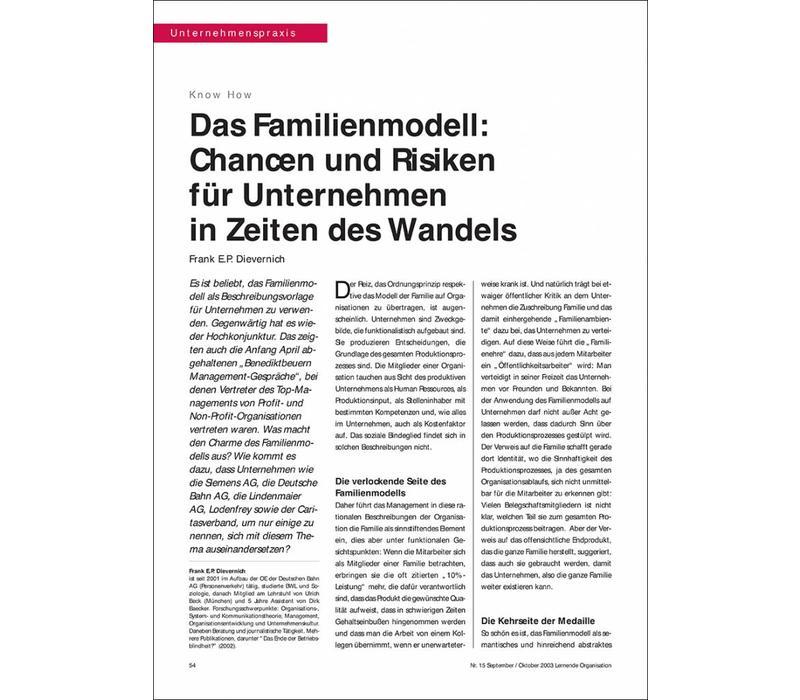 Das Familienmodell: Chancen und Risiken für Unternehmen in Zeiten des Wandels