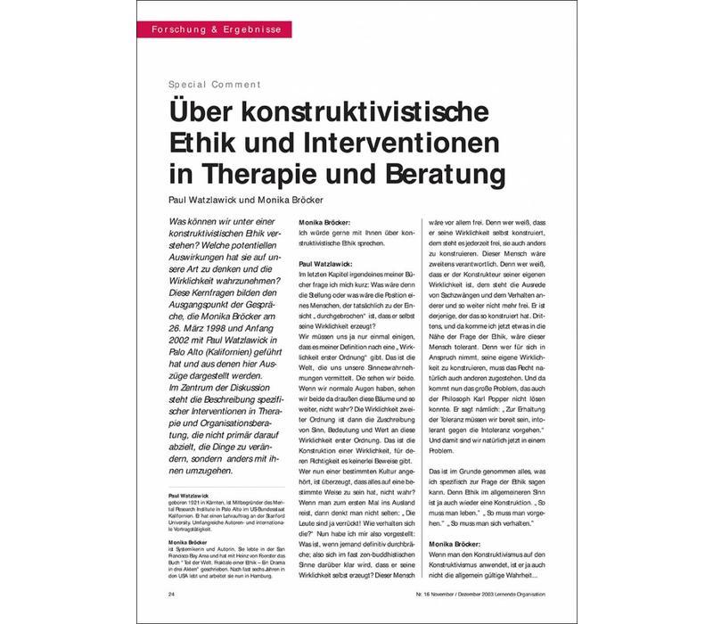 Über konstruktivistische Ethik und Interventionen in Therapie und Beratung