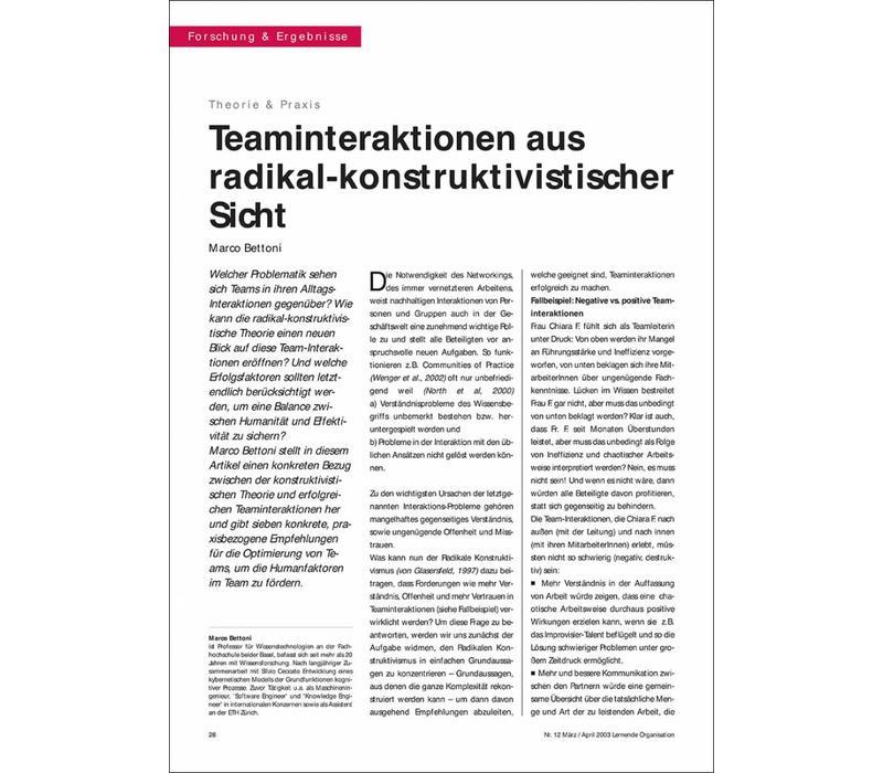 Teaminteraktionen aus radikal-konstruktivistischer Sicht