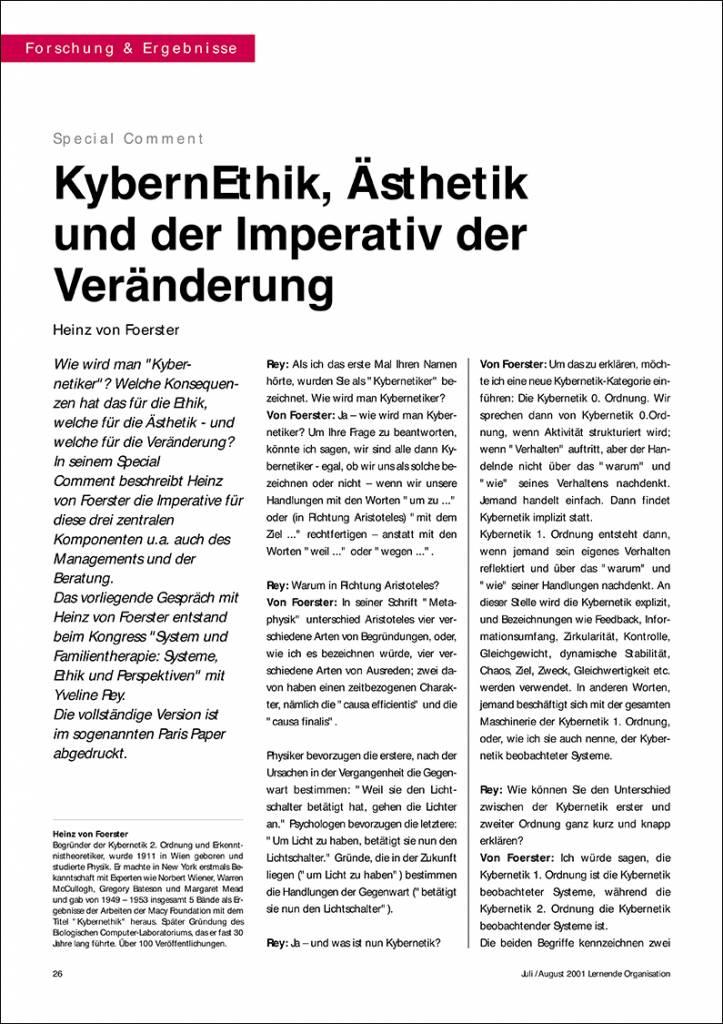 KybernEthik, Ästhetik und der Imperativ der Veränderung - IRBW