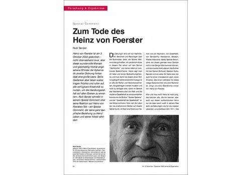 Zum Tode des Heinz von Foerster