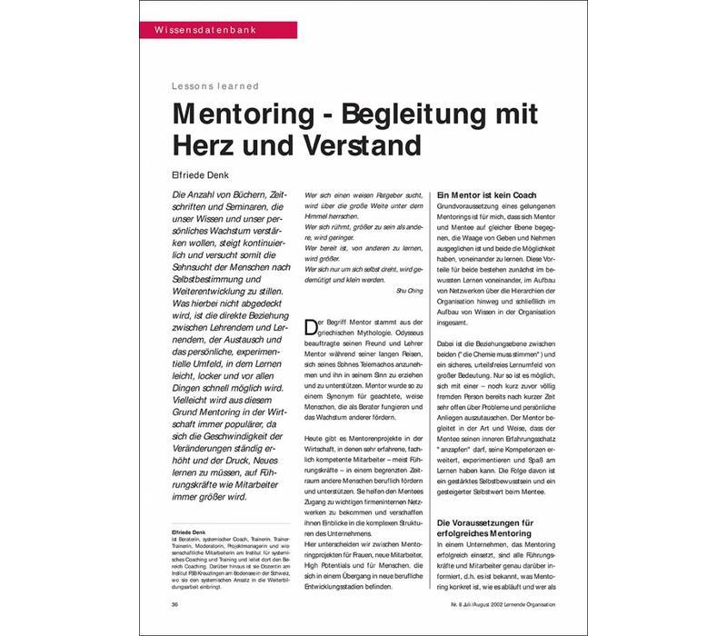 Mentoring - Begleitung mit Herz und Verstand