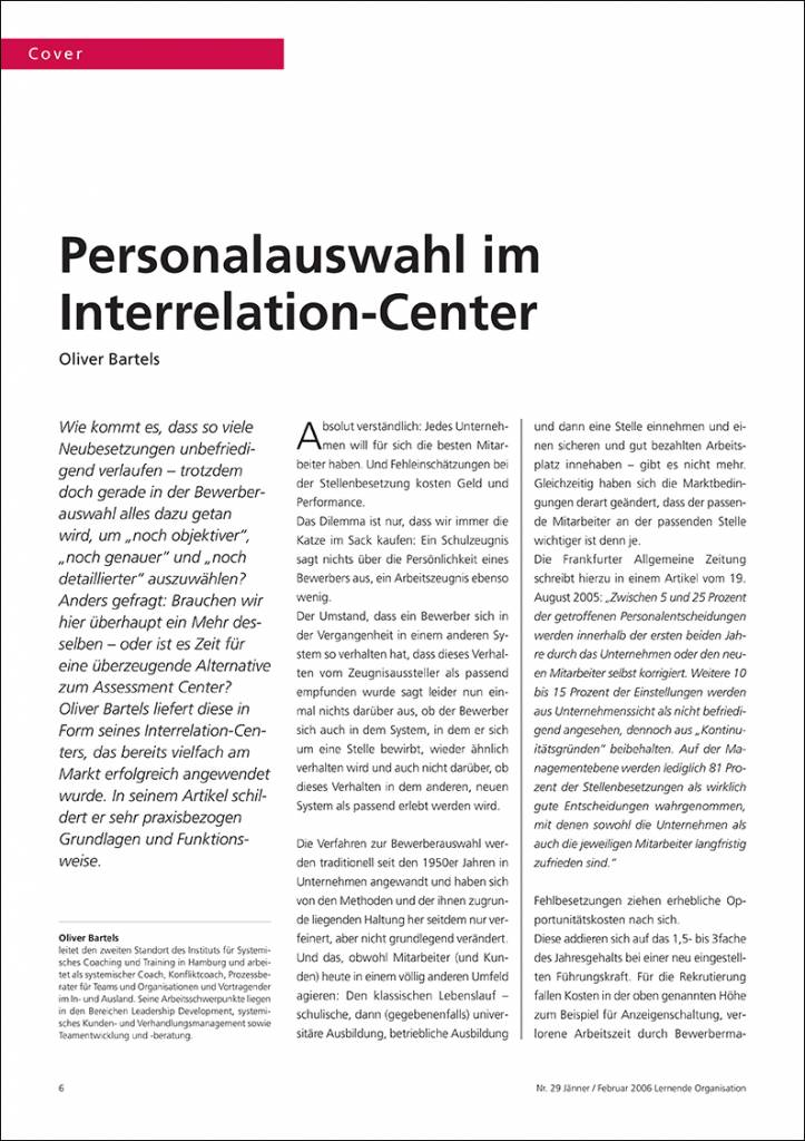 Personalauswahl im Interrelation-Center - IRBW