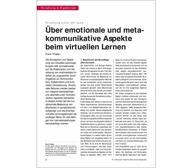 Über emotionale und metakommunikative Aspekte beim virtuellen Lernen