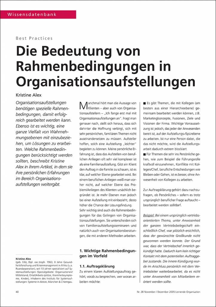 Die Bedeutung von Rahmenbedingungen in Organisationsaufstellungen - IRBW