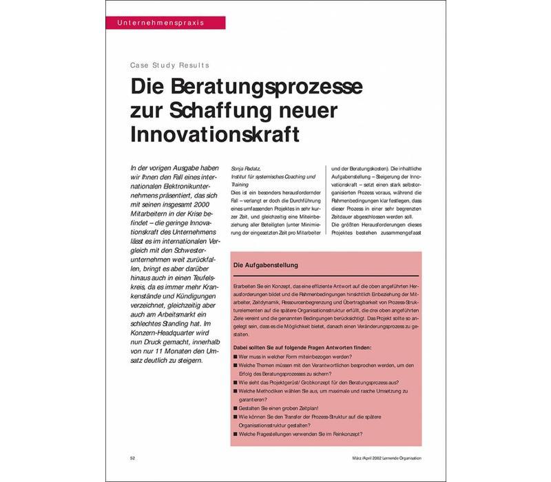 Die Beratungsprozesse zur Schaffung neuer Innovationskraft