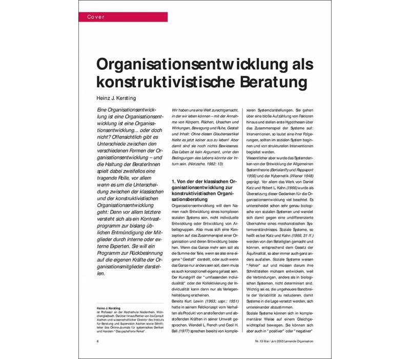 Organisationsentwicklung als konstruktivistische Beratung