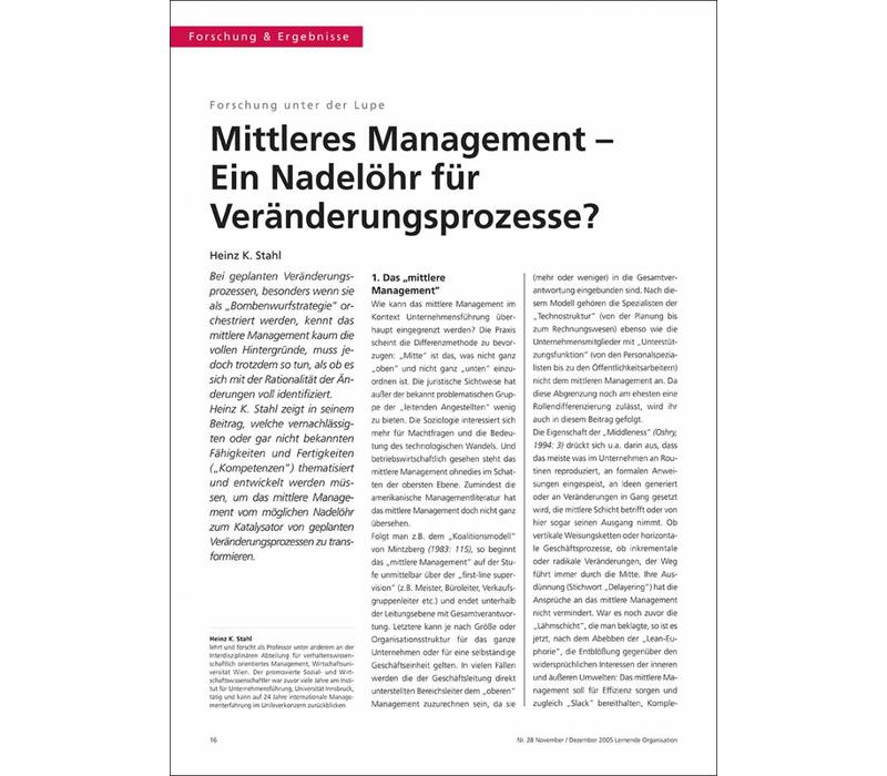 Mittleres Management – Ein Nadelöhr für Veränderungsprozesse?