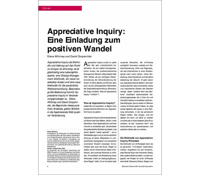 Appreciative Inquiry: Eine Einladung zum positiven Wandel