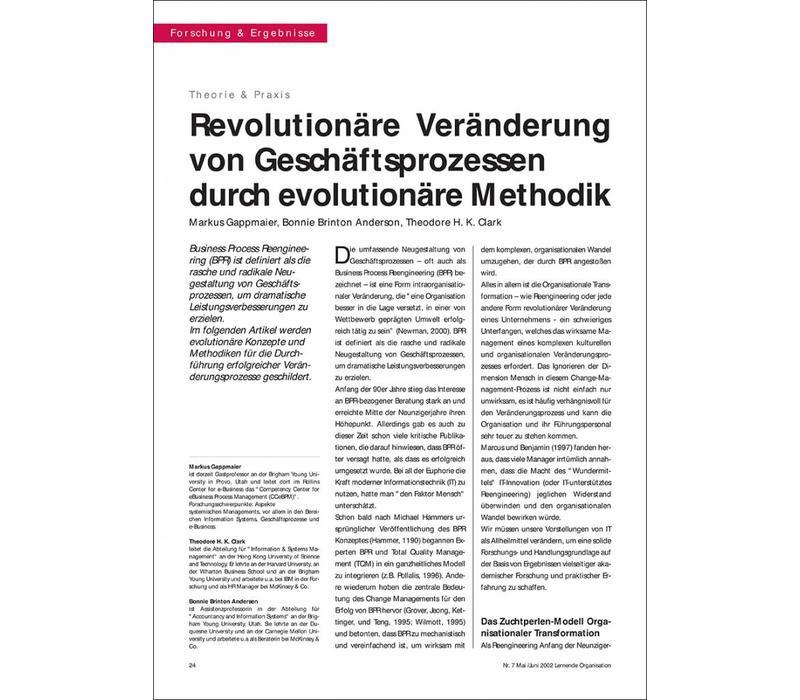 Revolutionäre Veränderung von Geschäftsprozessen durch evolutionäre Methodik