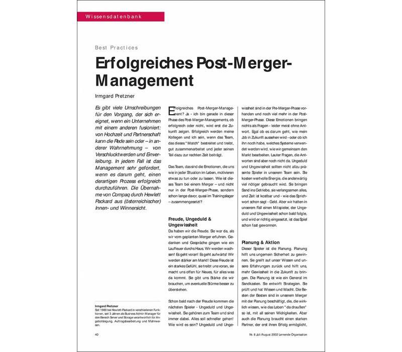 Erfolgreiches Post-Merger- Management